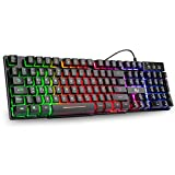 Rii Gaming Tastatur PC, PS4 Tastatur USB, Regenbogen Beleuchtete Tastatur LED, Gaming Keyboard ideal für Gamer|Büro(Deutsches Layout)