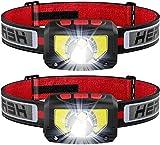 LED Stirnlampe, USB Wiederaufladbar Kopflampe Stirnlampe 1000 Lumens Superhell, 6 Modi, 80g, COB LED Kopflicht IPX5 Wasserdicht, Mini Stirnlampen für Laufen, Joggen, Angeln, Campen, Kinder