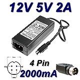 TOP CHARGEUR ® Netzteil Netzadapter Ladekabel Ladegerät 12V 5V 2A 4 Pin für Ersatz Multimedia Festplatte Wattac BA0362ZI-8-A02