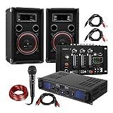 DJ PA Set DJ-14 USB - PA-Verstärker, USB-Mischpult, Lautsprecher-Paar, Karaoke-Mikrofon, Anschlusskabel-Set