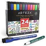 Arteza magnetische Whiteboard Marker, 24 bunte Whiteboard Stifte mit dünner Rundspitze, trocken abwischbare Boardmarker mit Filz-Radierer für Schule, Büro und Zuhause