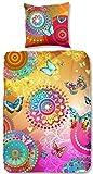HIP Satin-Bettwäsche Mystic 5112 Reine Baumwolle Mandalas Ornamente Paisley Schmetterlinge in tollen Sommerfarben pink Gold bunt 135x200 cm