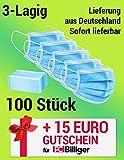 ikeepi 100 Stück Einweg 3 lagig Mund-Nasen-Schutz, Atemschutz Gesundheits-und Hygienische (100 Stück)
