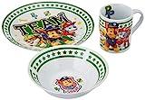 POS 29457088 - Frühstücksset mit Paw Patrol Motiv, 3 teiliges Geschirrset für Kinder, aus Keramik, bestehend aus Teller, Schale und Tasse, spülmaschinengeeignet