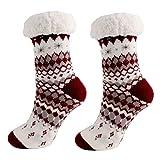 PPangUDing Wollsocken Stricksocken Damen Warme Kuschelsocken Wintersocken Cute Cartoon Muster Atmungsaktiv rutschfeste Hausschuhsocken Baumwollsocken Weihnachtssocken Thermosocken