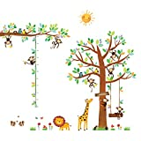 DECOWALL DA-1401P1402 8 Affen Groß Baum Zweig Höhentabelle Waldtiere Tiere Wandtattoo Wandsticker Wandaufkleber Wanddeko für Wohnzimmer Schlafzimmer Kinderzimmer