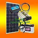 130 Watt Inselanlage, 12 Volt SET mit Spannungswandler mit Batterie von bau-tech Solarenergie GmbH