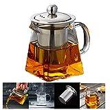 PluieSoleil Teekanne Glas Teebereiter 350 ml Abnehmbare Edelstahl-Sieb ((350ML)