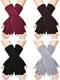 SATINIOR Unisex Halbe Finger Handschuhe Winter Dehnbar Knit Fingerloses Tippen Handschuhe (Schwarz, Rot, Hellgrau, Kaffee, 4)