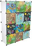 KEKSKRONE Sehr Großer Kinderschrank Bunte Motiv-Türen - DIY Stecksystem - 12 Module je 37 x 37 x 37 cm, Weiß   Kinderzimmer-Schrank   Kinderkleiderschrank   Baby-Regal   Spielzeugkommode