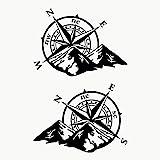 Autodomy Kompass Off Road Sport Trail 4x4 Aufkleber Paket 2 Stück für Auto oder Motorrad (Schwarz)