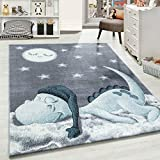 Carpetsale24 Kinderteppich » BAMBIX «, Kinderzimmerteppich, Dino Wolke Figur Kinderzimmer Babyzimmer,7 mm, Rechteckig, BLAU, Maße:120 cm x 170 cm