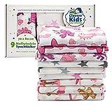 Clevere Kids Mulltücher | 9er-Pack Geschenkset | bedruckt | OEKO-TEX | doppelt gewebt | 70x80 | Spucktücher (Mädchen)