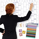 Wandkalender 2021, DIN A1+ (89x63 cm)   228 Sticker für Projekte, Meetings & Co.   16 Monate: Nov'20-Feb'22   Wandplaner gefalzt für Office, Büro, Teams   Ferienübersicht, Feiertage, Quartale