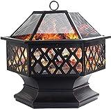 Dawoo Feuerschale für den Außenbereich, sechseckiger Feuerkorb Garten feuerschale,feuerstelle