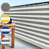 casa pura Balkon Sichtschutz UV-Schutz | 90x500cm | wetterbeständiges und pflegeleichtes HDPE-Spezialgewebe | grau-weiß gestreift