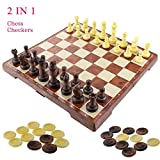 2 in 1 Schachspiel Magnetisch, Fixget Schachspiel Schachbrett mit Deluxe Magnetischem mit Figuren Schachbrett edel Einkla ppbar Schachspiel Schachkassette Komplettes Schachfiguren Set