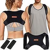 RIRGI Rücken Geradehalter zur Haltungskorrektur 2 Art zu tragen verstellbar Haltungstrainer, Rückenstabilisator mit 2 Polsterungspads, Rückenstütze gegen Nacken- und Schulterschmerzen für Damen Herren