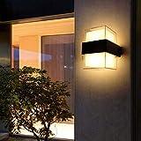 LED Außenleuchte 12W 3000K Warmweiß,Wandleuchte Aussen 2-Flammig 1200LM IP65 Wasserdicht, Modern Acryl Außenlampe Superhell Für Gärten, Terrassen, Außenwände usw