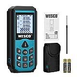 Laser Entfernungsmesser,WESCO Distanzmessgerät,Messbereich 0.03~40m/±1.5mm, Messeinheit M/In/Ft,20 Datenspeicherfunktion,Automatische Berechnung von Fläche/Volumen/Pythagoreische