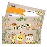 Papierdrachen 12 Einladungskarten zum Kindergeburtstag für Mädchen und Jungen - Motiv Waldtiere - Geburtstagseinladungen für Deine Geburtstagsparty (DIN A6)