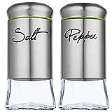 KADAX Salz- und Pfefferstreuer Set, 2-teilig, 150 ml, Streuer aus Glas und Edelstahl, Mini-Salzstreuer, Gewürzstreuer mit Deckel, Gewürzglas, klein, transparent/Silber