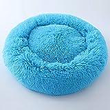 OUYAWEI Haustiernest für Katzen, Hunde, süßes Design, rund, in Makronen-Form, blau, S