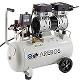 Arebos Flüsterkompressor 24 Liter   800 W   Ölfrei   54,5 dB   GS geprüft von TÜV Süd   Euro Schnellkupplung 120 L/min