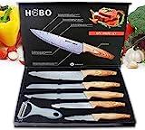 HOBO Küchenmesserset, Professional Messerset, Edelstahl-Finish, inklusive Kochmesser, Brotmesser, Tranchiermesser, Universalmesser und Gemüsemesser (5 Stück)