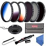 Beschoi 67mm Filter Set CPL + ND4 + ND8 + Verlaufsfilter Grau + Orange + Blau mit Filtertasche Reinigungsset für Canon Nikon Olympus DSLR Kamera