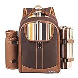 Eono by Amazon - 4 Personen Picknickrucksack Kühltasche mit Geschirrset & Decke