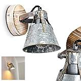 Wandleuchte Berkeley, verstellbare Wandlampe aus Metall/Holz in Zink, 1-flammig, 1 x E27 Fassung max. 60 Watt, Wandspot im Retro/Vintage Design, für LED Leuchtmittel geeignet