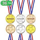 EXTSUD 36 Stücke Gewinner Medaillen Kunststoff Siegermedaillen Gold Silber Bronze Medaille Plastikmedaille für Kinder Fußballspiele,Sporttag,Party,Wettbewerb,Belohnung