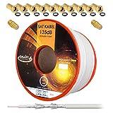 135dB 50m Koaxial SAT Kabel Reines KU Kupfer PRO 5-Fach geschirmt Koax Antennenkabel für DVB-S / S2 DVB-C und DVB-T BK Anlagen + 10x vergoldete F-Stecker UND 2X F-Verbinder Gratis dazu