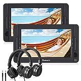 NAVISKAUTO 10' DVD Player Auto 2 Monitore Tragbarer DVD Player 5 Stdn. Spielzeit 1024 * 600 HD Kopfstütze Fernseher mit 2 Kopfhörer