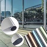 KINLO Sonnenschutzfolie Fensterfolie ANTI UV Strahlen selbstklebend Sichtschutzfolie ohne Kleber viele Farben (90x200CM, Kariert-Silber)