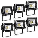 Greenmigo 6x 20W SMD Fluter Strahler Warmweiß Schwarz Aluminium Gehäuse IP65 Wasserdicht LED Lampe Wandleuchter Flulicht Flutbeleuchtung LED Gartenlampe Außenstahler