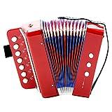 Fdit Socialme-EU Mini Akkordeon für Bass mit 7 Tasten für Kinder Didaktisches Instrument Spielzeug Rhythmische Übung Beleuchtung Musikinstrumente rot
