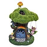 TERESA'S COLLECTIONS Feenhaus für Garten Solar LED Gartenleuchte aus Kunstharz 19.5cm Wasserfest Fairy House Beflocktes Gras Elfenhaus mit Miniatur Fee Figur und Pilz Gartenfigur für Außen Balkon