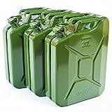 Oxid7 3X Benzinkanister Kraftstoffkanister Metall 20 Liter Olivgrün mit UN-Zulassung - TÜV Rheinland Zertifiziert - Bauart geprüft