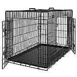 FEANDREA Hundekäfig, Hundebox, zusammenklappbar, 2 Türen (92,5 x 57,5 x 64 cm)