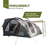 skandika Egersund 5 Personen Tunnelzelt Camping Zelt mit 5000 mm Wassersäule, eingenähter Zeltboden, Moskitonetze, 2 überdachte Eingänge, Haken für Zeltlampe, Organizertaschen