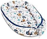 JUKKI® Babynest Babynestchen 120x65 cm Babykokon, 2seitig, 100% Baumwolle, Kissen, Nestchen für Babybett, Kuschelnest, Reisebett für Baby und Säuglinge