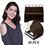 40 Stück Tape in Extensions Echthaar Klebeband Haarverlängerung 100% Remy Human Haar Haarteil (+10 Tressen free tapes) Dunkelbraun#2 16'(40cm)
