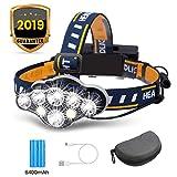 OUTERDO Stirnlampe superheller, Kopflampe 8 LED 8 Modi mit Warnleuchte, Stirnleuchte USB und 2xBatterien Wasserdicht, Kopfleuchte für Camping, Fischerei, Keller,Joggen, Wandern