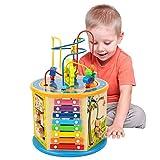 Elover Aktivitätswürfel Holz 8 in 1 Motorikwürfel Perlen-Labyrinth Holz Spielcenter Kleinkinder Spielzeug Mehrzweckspielzeug Geschenke für Kinder