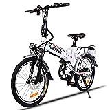 ANCHEER Elektrofahrrad, Faltbares E-Bike für Erwachsene, Faltrad, 20/26 Zoll Klapprad Pedelec mit Lithium-Akku (250W, 36V), Elektrofahrräder mit 7-Gang Shimano Nabenschaltung (20' Weiß)
