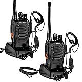 Swonuk 2X Walkie Talkies, BF-888S Funkgerät Set 1500 mAh 16 Kanäle 3-5 km Reichweite Wiederaufladbarer Funkempfang, mit wiederaufladbarer Taschenlampe und tragbarem Doppelkopfhörer