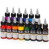 DLD Hohe Qualität 14 Stücke Permanent Tattoo Tinte 14 Farben Microblading Pigment Set 1 Unze 30 ml/Flasche Tattoo Tinten Pigment Kit für Tattoo & Body Paint