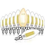 Svater E14 LED Glühbirnen, 12er Pack, 450 lm,Tageslichtweiß 2700K 4W C35 Kerzenglas Vintage LED, nicht dimmbar, 40W Ersatz [Energieklasse A+]